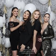 Kasey Caminity, Rachel Fisher, Kate Redeker and Alyvia Philosop at the Faviana Oscars Red Carpet viewing party. Faviana's exclusive East Coast Oscar balloon wall, created by SPS and shot by A1 Array. #faviana #oscars #internationalwomenday2018 #nyc #eastcoastoscars #redcarpet