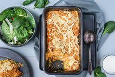 Skinkegrateng med purreløk og cottage cheese Scampi, Cottage Cheese, Lasagna, Shrimp, Food And Drink, Pasta, Fish, Ethnic Recipes, Drinks