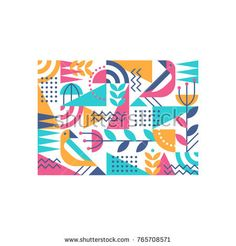 Ornamental flat and geometry design spring nature concept, summer poster, color vector print with floral elements, geometrical shapes and birds.
