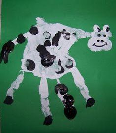 Cow handprint art idea for kids