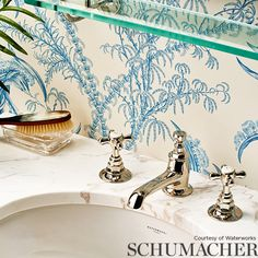 Shop Schumacher wallpaper at the lowest pricing. Schumacher has a love for big and bold patterns a designers best resource. is an authorized dealer for Schumacher wallpaper. Bathroom Wallpaper Inspiration, Vanity Stool, Blue Home Decor, Inspirational Wallpapers, Wallpaper Online, Schumacher, Delft, Designer Wallpaper, Slipcovers