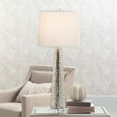 good for a smaller nightstand Hobbes Tapered Mercury Glass Table Lamp