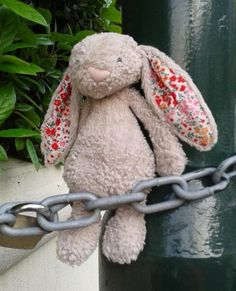 Jellycat bunny FOUND 17/05/2014 @ Halfway up Church Road, Richmond upon Thames Jellycat bunny with bright red-pink fabric ears, tucked into a lamppost chain halfway up the road, left-hand-side of the road, walking up the hill. Contact: Hannah on https://whiteboomerang.com/lostteddy/?show=2bv0cw7