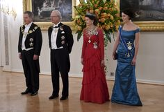 Finland's President Sauli Niinisto King Carl XVI Gustaf of Sweden, Queen Silvia and wife of President, Jenni Haukio. 3 March 2015 in Finland. News Photo Queen Of Sweden, Swedish Royalty, Women Lawyer, Queen Silvia, Queen Mother, Gala Dinner, Bridesmaid Dresses, Wedding Dresses, Finland