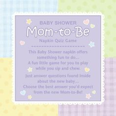 This Game Does Double Duty   These Beverage Sized Napkins Are Also A Mom To  · Baby Shower ...