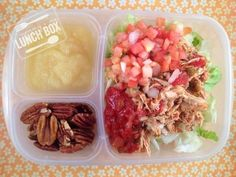 Chicken taco salad packed for lunch | packed in @EasyLunchboxes containers
