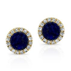 """14KT Yellow Gold Lapis Lazuli Diamond Round Stud Earrings Measures 1/4"""" in Diameter   Color 14KT Yellow Gold   Primary Stone Lapis Lazuli   Approx. Carat Weight .100   Number of Stones 32 Diamonds 