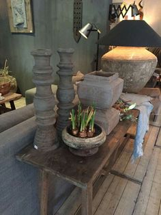 Grey Lamps, Decorative Plaster, Bedside Table Lamps, Wabi Sabi, Coastal Decor, Country Style, Home Interior Design, Paint Colors, Home And Garden