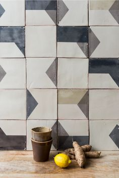 Subtle Imperfections: Screen-Printed Ceramic Tiles from a Small-Batch London Company - Remodelista Smink Things After Lowry Tile with Bowls
