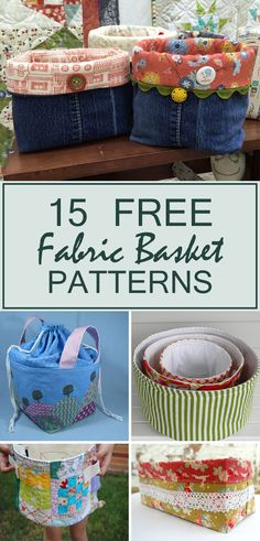15 free fabric basket patterns to organize your home - Diy Fabric Basket Fabric Storage Baskets, Sewing Baskets, Bee Fabric, Patchwork Fabric, Sewing Patterns Free, Fabric Patterns, Free Pattern, Craft Patterns, Sewing To Sell