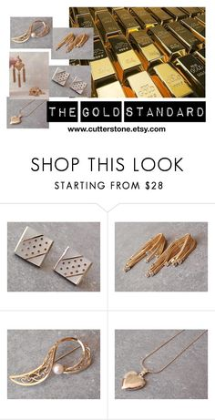 """""""The Gold Standard"""" by cutterstone ❤ liked on Polyvore featuring Hattie Carnegie and Napier"""