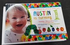 Hungry little caterpillar themed party invitation by Gina Marie Design