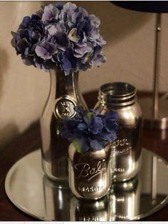 "Mason jars or milk bottles sprayed with krylons "" looking glass"" spray paint-debz"