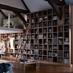 Luxe Library A floor-to-ceiling bookcase is a fantastically impactful feature in a room and is useful not just for storing books, but displaying artwork too. If you're fortunate enough to have high ceilings, you could also consider a specially built mezzanine level for a spot of quiet reading or study. Utter luxury. Saved from:http://www.houseandgarden.co.uk/interiors/living-room/library-mezzanine?next#ViewImage