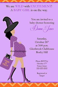 custom witch theme baby bump baby shower invitation