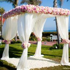 Beautiful Chuppah by Blooming Brides Florist, pink wedding flowers, www.myfloweraffair.com