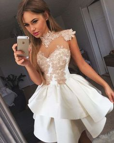 Cute White Short Prom Dress,Lace Applique Homecoming Dress