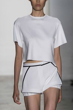 Minimal white top & shorts, sporty fashion details // Louise Goldin Spring 2014