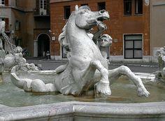 Fontana del Nettuno, Giacomo Della Porta, Piazza Navona, Roma. Particolare.