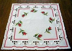 Hardanger Embroidery Doily with Little Rose Buds Handmade from Germany   eBay