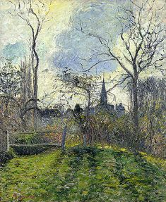 """""""The Bell Tower of Bazincourt,"""" Camille Pissarro (1885)"""