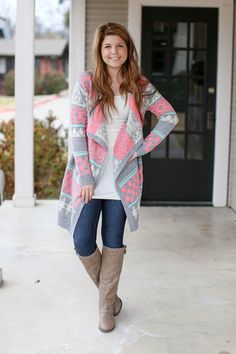 Day Dreamer Long Cardigan - Mint and Pink