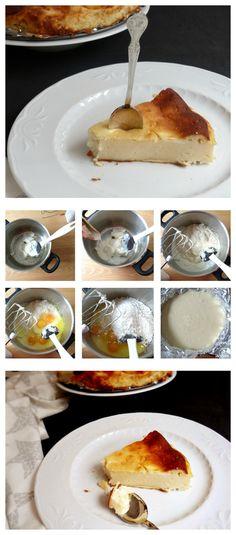 Tarta de queso al horno. Una receta tradicional. Ingredientes: 300 g de queso de untar, 4 yogures griegos, 5 huevos, una cucharadita de café de levadura, 200 g de azúcar... #cheesecake #tarta #tartadequeso #recipe