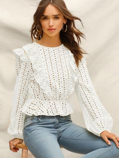 online shopping for Verdusa Women's Long Sleeve Eyelet Embroidery Ruffle Trim Peplum Crop Top from top store. See new offer for Verdusa Women's Long Sleeve Eyelet Embroidery Ruffle Trim Peplum Crop Top Blouse Styles, Blouse Designs, Blouse Boheme, Crop Tops Online, All Jeans, Spring Shirts, Types Of Sleeves, Blouses For Women, Korean Fashion