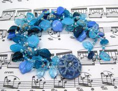 Beaded Bracelet The Leaf Series Turquoise Blue by randomcreative. $35.00, via Etsy.