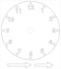 Template for clock with moveable hour and minute hand