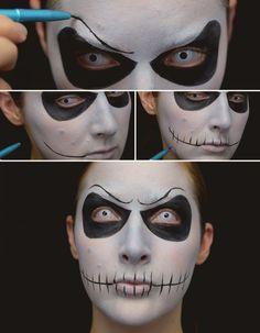 Jack Skellington Makeup Tutorial Unique Halloween Makeup, Zombie Halloween Makeup, Scary Halloween Costumes, Halloween Make Up, Halloween Halloween, Sally Makeup, Fx Makeup, Cosplay Makeup, Costume Makeup