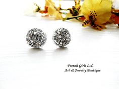 Light Silver Gray Druzy Tiny Stud Earrings Geometric Jewelry