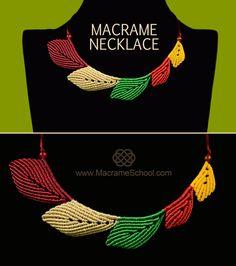 Macrame Leaf Necklace Tutorial - http://youtu.be/5m1Y2U6hyyQ