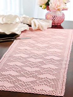 Hearts-a-Plenty Table Runner Crochet Pattern Download from e-PatternsCentral.com -- A combination of solid and open hearts creates a lovely contrast in this gorgeous filet table piece.