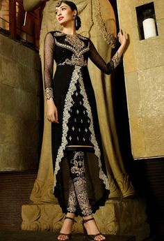 Black Georgette Designer Suit 9104