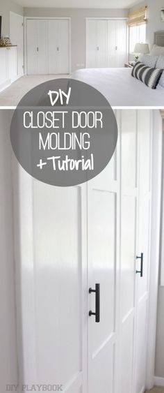How to spruce up bare bifold doors with molding. Love this budget-friendly DIY idea to make your bedroom closet doors a little better. Costs less than $100 and you can get it done in a weekend.