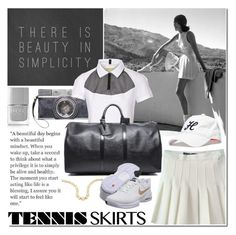 """Game, Set, Match: Tennis Skirts"" by elena-starling ❤ liked on Polyvore featuring Prada, Nails Inc., Monreal, Louis Vuitton, NIKE, Tommy Hilfiger, monochrome, blackandwhite, tennis and tennisskirt"