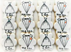 Wedding cookies by Vicki of Sweet Tweets. Plaque by Whisked Away Cutters. So cute!