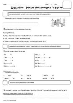 Mesure de capacités, contenances, litre - Ce2 - Evaluation - Pass Education