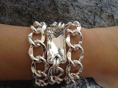 Surfer Girl Triple Wrap Chunky Silver Chain by seejewelryonline, $24.95