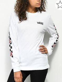 bae001c90131 It s easy to incorporate the Patchwork Rose White Long Sleeve Tee from Vans  in with your go-to looks. Featured in white with a black checker print and  pink ...