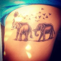 Elephants symbolize loyalty, love, luck, unity and prosperity. The dandelion wisps turning into birds represents change and new beginnings. Elephant Family Tattoo, Elephant Tattoo Meaning, Rose Tattoos, Body Art Tattoos, Girl Tattoos, Nail Polish Tattoo, Elefant Tattoo, Loyalty Tattoo, Mother Tattoos