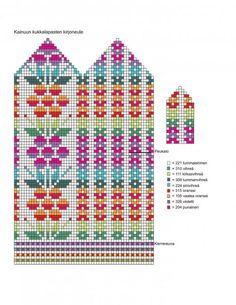 Stricken Knitted mittens and flower pattern – Stricken Knitting Charts, Knitting Socks, Knitting Stitches, Hand Knitting, Knitting Patterns, Knitted Mittens Pattern, Crochet Mittens, Knit Or Crochet, Wrist Warmers