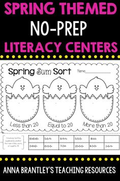 Spring themed math and literacy activities and games that are easy to prep! These activities are fun and can be used for morning work, math and literacy stations, or even homework! These would be great to use for first grade students.