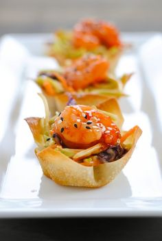 Asian Shrimp Wonton Cups