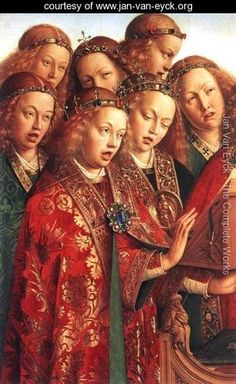 The Ghent Altarpiece- Singing Angels (detail 2) 1427-29 - Jan Van Eyck - www.jan-van-eyck.org