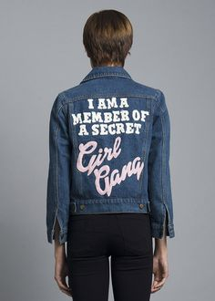 "You probably didn't know, but I'm a member of a secret girl gang. Rock this statement jacket with our Jumbo Missy Earrings! 100% Cotton 43cm/17"" Chest, 57cm/22."