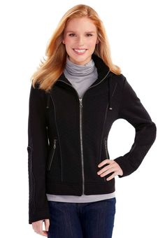 Just $24.99 !! NEW/NWT Cato Quilted Fleece Moto Jacket w/ Hood Jrs/Miss Sizes Black $75 Retail #Cato #MotorcycleJacketCasual