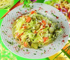 Hozzávalók : 60 dkg fejes káposzta, 40 dkg sárgarépa, 1 kiskanál só, 25 dkg csemegeuborka, 2-3 evőkanál olaj, fél mokkáskanál őrölt fekete bors, 1 csapott evőkanál porcukor, 2 evőkanál 6%-os tárkonyos ételecet, 1 csokor petrezselyem  1. A ... Cabbage, Food And Drink, Vegetables, Recipes, Cabbages, Vegetable Recipes, Ripped Recipes, Brussels Sprouts