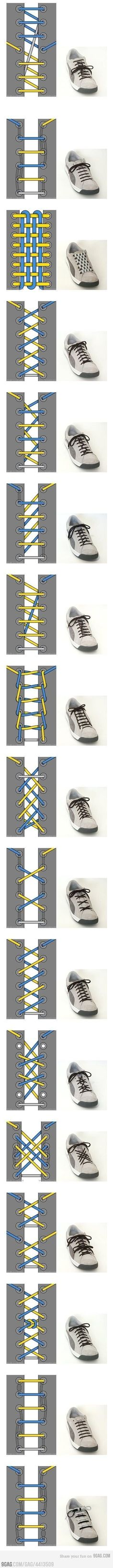 Cool Ways To Tie Your Shoe Laces ~ shoe lace patterns ~ Will have to remember this when the kids finally get shoes with laces. Your Shoes, How To Tie Shoes, Good To Know, Paracord, Life Hacks, Mom Hacks, Mens Fashion, Boyish Fashion, Fashion 2020